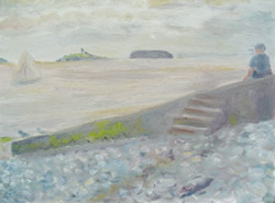 Print of painting of Penarth seascape with beach