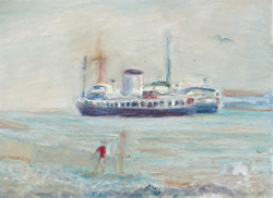 Print of painting of Penarth seascape with ship